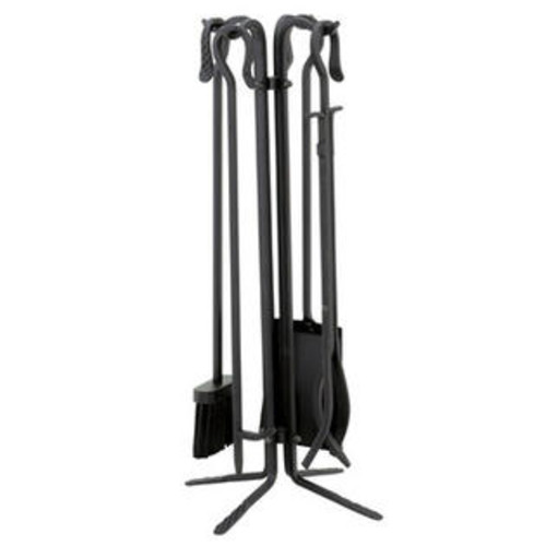 UniFlame T18070BK 5 Piece Black Wrought Iton Fireset with Crook Handles