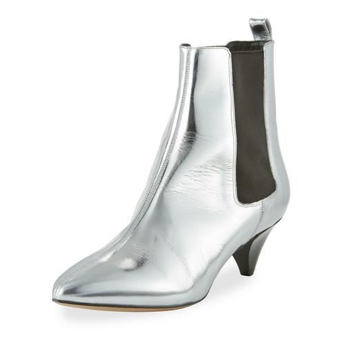 ISABEL MARANT Dawell Low-Heel Chelsea Boot, Silver
