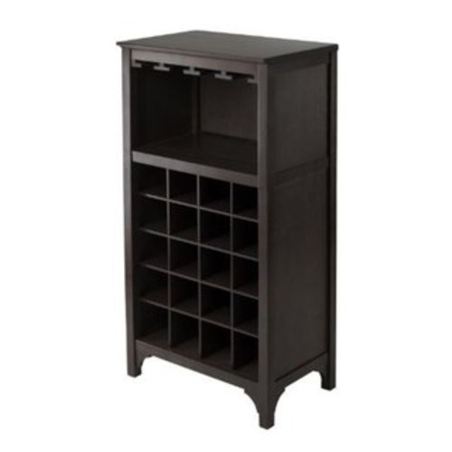 Ancona Dark Espresso 20 Bottle Modular Wine Cabinet with Glass Rack