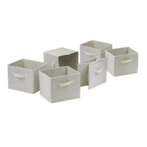 Winsome Wood 82611 Capri Foldable Beige Fabric Baskets, Set of Six