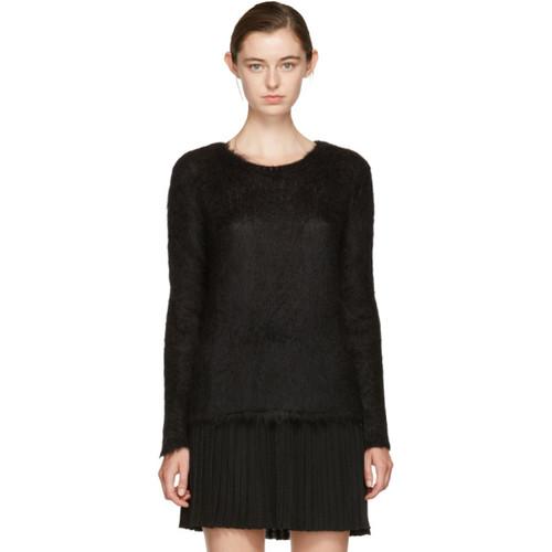 SAINT LAURENT Black Mohair Loose Stitch Sweater
