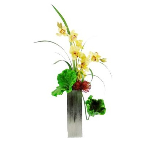 Creative Branch Gracing a Stately Cymbidium Orchids Floral Arrangement in Decorative Vase
