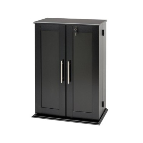 Black Locking Media Storage Cabinet with Shaker Doors [Black]