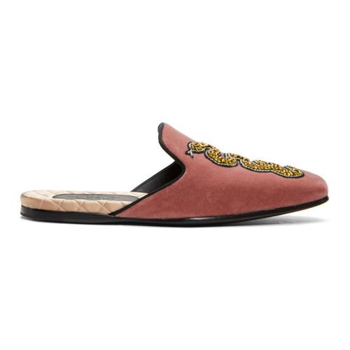 GUCCI Red Velvet Snake Slip-On Loafers