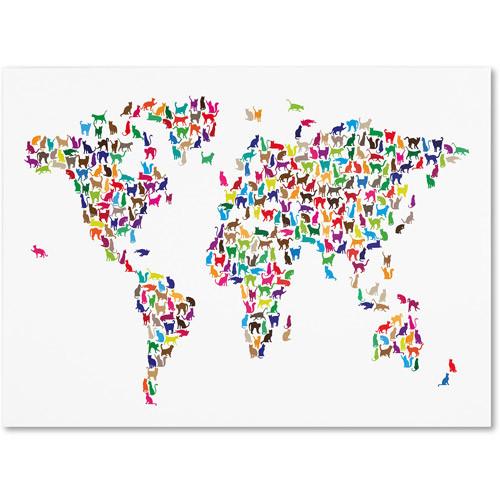 Trademark Art 'Cats World Map' Canvas Art by Michael Tompsett