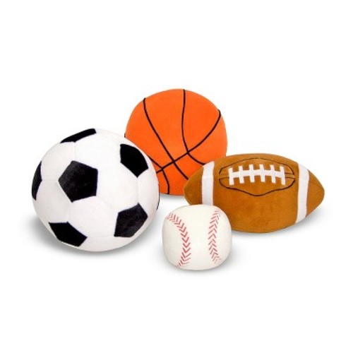 Melissa & Doug Sports Throw Pillows With Mesh Storage Bag - Plush Basketball, Baseball, Soccer Ball, and Football [multi]