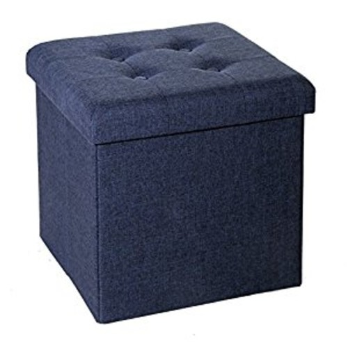 Seville Classics Foldable Tufted Storage Ottoman, Midnight Blue [Tufted Cube / Midnight Blue, Cloth]