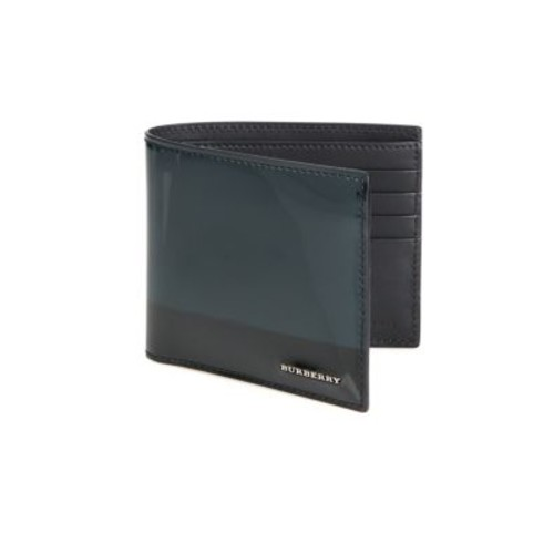 BURBERRY Striped Patent Leather Bifold Wallet