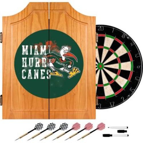 Trademark Global University of Miami Smoke 20.5 in. Wood Dart Cabinet Set