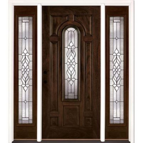 Feather River Doors 63.5 in. x 81.625 in. Lakewood Patina Stained Chestnut Mahogany Right-Hand Fiberglass Prehung Front Door with Sidelites