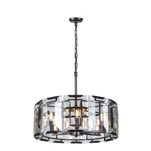 Elegant Lighting Monaco 6-Light Flat Black Matte Glass Crystal Clear Pendant