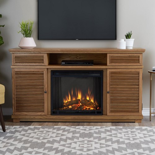 Real Flame Cavallo 59 in. Entertainment Electric Fireplace in Natural Elm