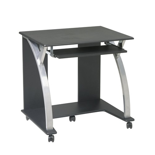 Office Star Saturn Computer Cart with Pullout Keyboard Tray and Silver Accents, Black