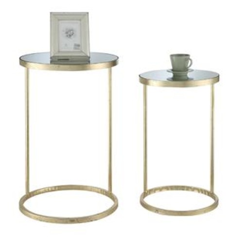 Convenience Concepts Gold Coast Round Nesting Mirror End Tables - 227435