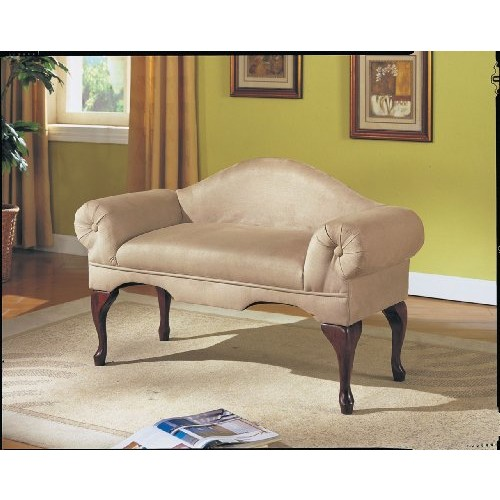 Acme 05630 Aston Microfiber Rolled Arm with Back Bench, Beige Finish [Beige]