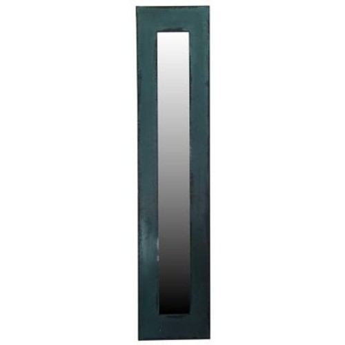 17 Stories Contemporary Rectangle Wood Framed Wall Mirror; Teal