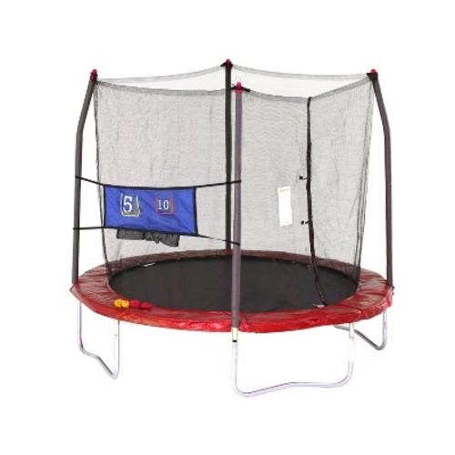 Skywalker Trampolines 8' Round Jump-N-Toss Trampoline with Enclosure - Red