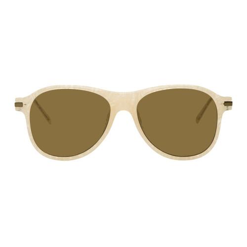 DRIES VAN NOTEN Off-White Linda Farrow Edition 134 Aviator Sunglasses