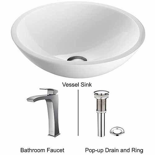 VIGO Flat Edged White Phoenix Stone Glass Vessel Sink and Blackstonian Faucet Set in Chrome
