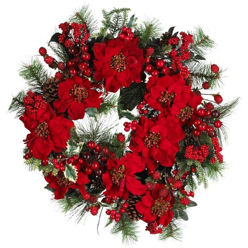 Nearly Natural Poinsettia Wreath Holiday 24-Inch 4660