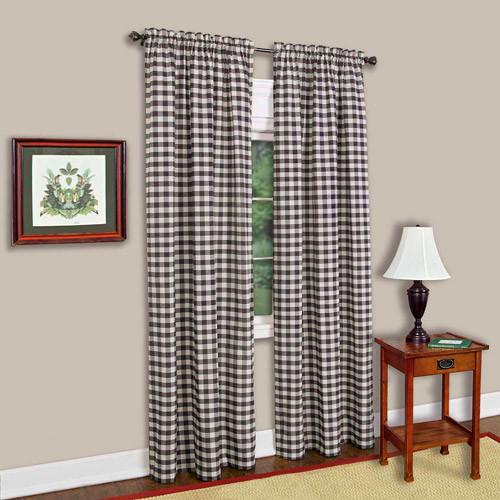 Achim Semi-Opaque Buffalo Check Burgandy Poly/Cotton Window Curtain Panel 42 in. W x 84 in. L