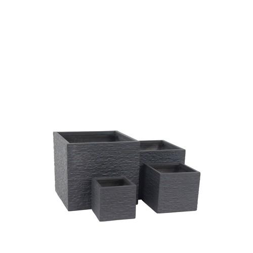 Black Clay Planter - Set of 4