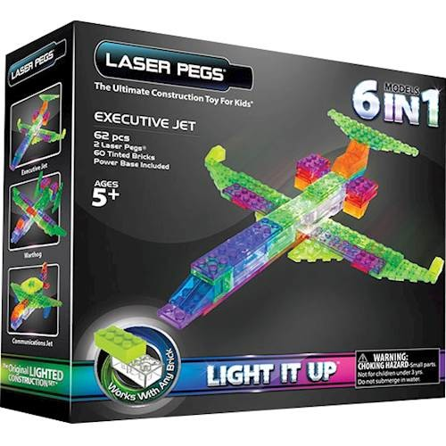 LASER PEGS - 6-In-1 Executive Jet Construction Set