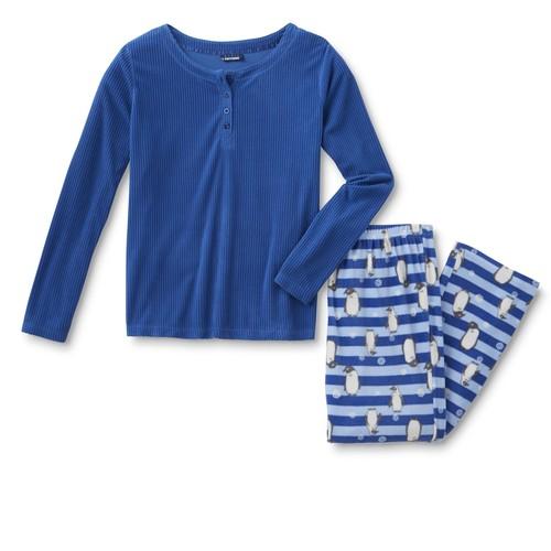 Basic Editions Women's Fleece Pajama Shirt & Pants