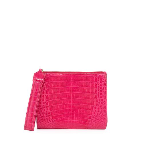 NANCY GONZALEZ Crocodile Zip-Top Wristlet Bag, Pink
