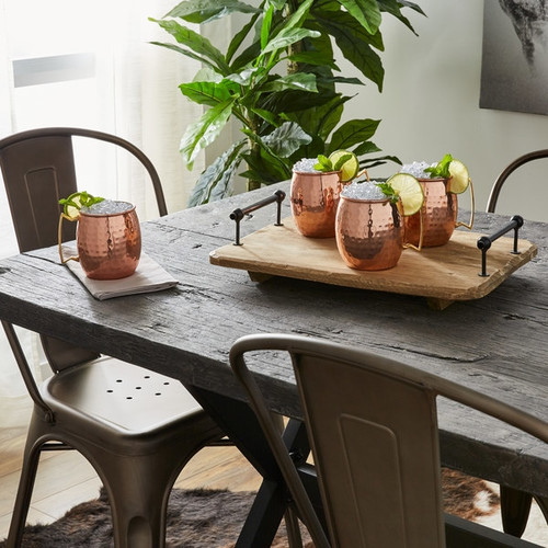 Handmade Copper Hammered Moscow Mule Curved Handle Mugs set of 4 (India)