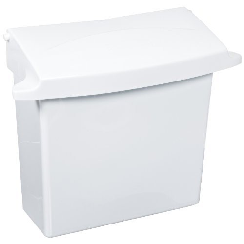 Rubbermaid Commercial 614000 Sanitary Napkin Receptacle with Rigid Liner, Rectangular, Plastic, White