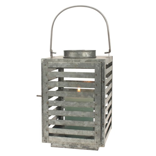 Stonebriar Collection Galvanized Metal Slated Lantern