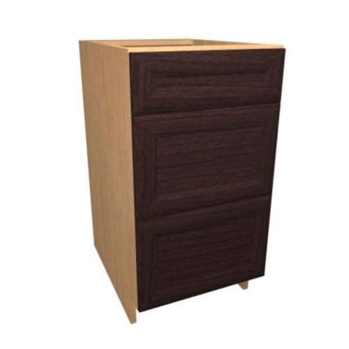 Home Decorators Collection Dolomiti Ready to Assemble 30 x 34.5 x 24 in. Base Drawer Cabinet with 3 Soft Close Drawer in Espresso