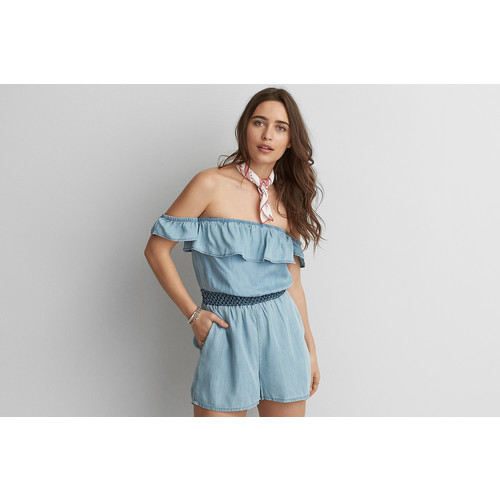 AEO Ruffled Off-The-Shoulder Romper
