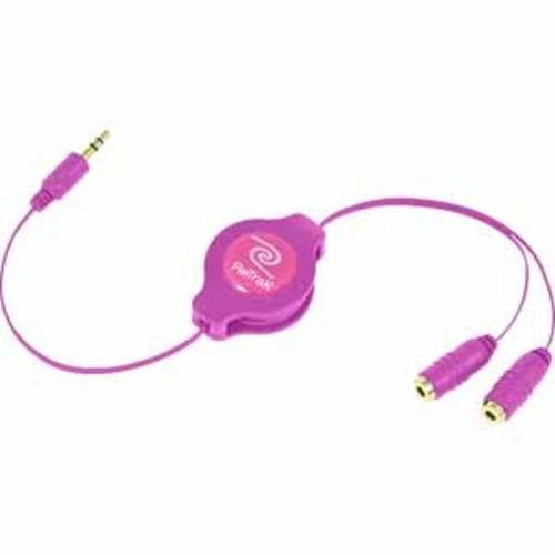 ReTrak Retractable Headphone Splitter - Pink