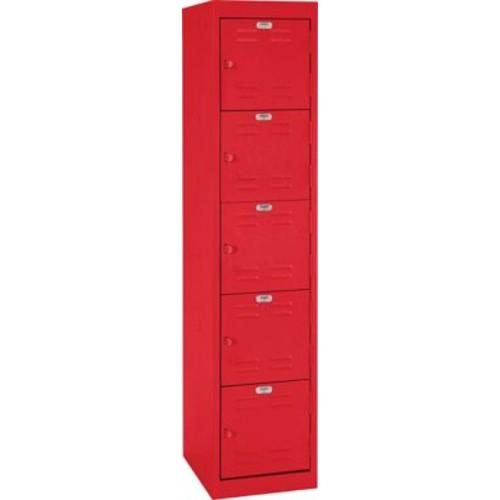 Five tier locker, hasp handle, red