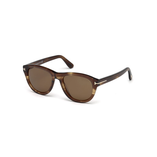 TOM FORD Benedict Polarized Soft Square Sunglasses, Shiny Striped Brown/Brown