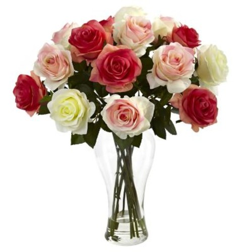 Nearly Natural 1348-AP Blooming Roses Floral Arrangements, Assorted