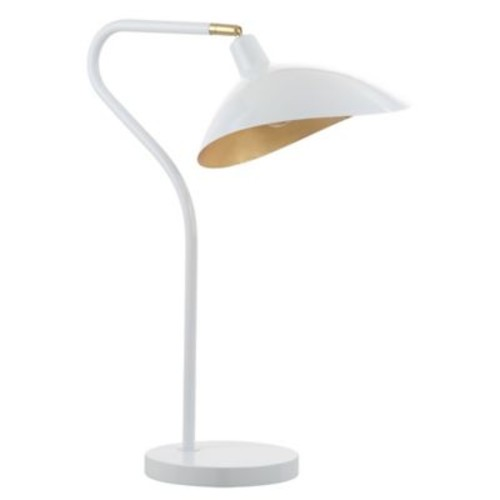 Safavieh Giselle Adjustable Table Lamp in White with Metal Shade with CFL Bulb