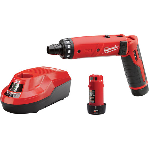 Milwaukee M4 Li-Ion Electric Hex Screwdriver Kit With 2 Batteries  1/4in. Keyless Chuck, 600 RPM, Model# 2101-22