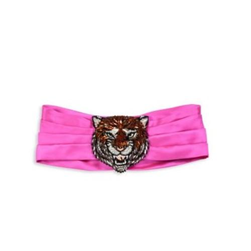 GUCCI Lion Crystal & Silk Headband
