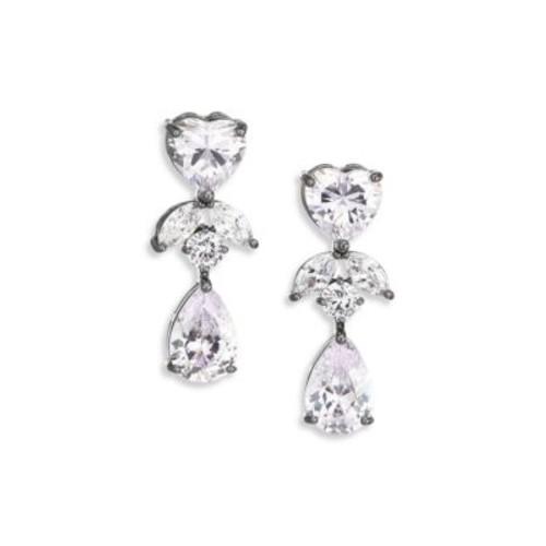 Monarch Crystal Heart Double-Drop Earrings