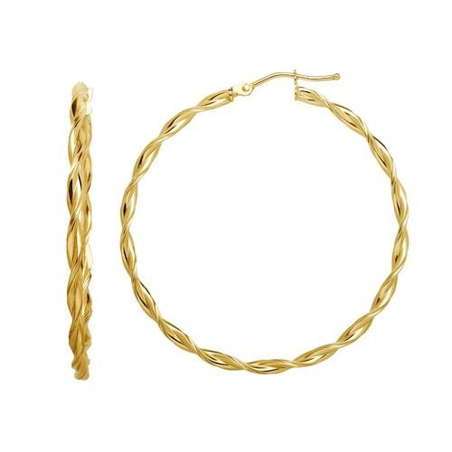 14K Gold Twisted Hoop Earrings - JCPenney