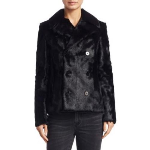 SAINT LAURENT Double Breasted Fur Coat