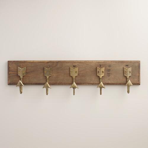 Brass Metal Arrow 5 Hook Wall Storage
