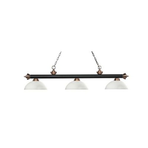 Reese 3-Light Island Light in Black/Copper with Dome Matte Opal Glass Shades