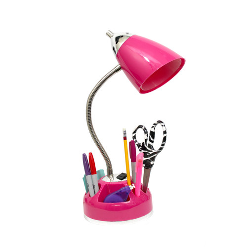 Limelights Flossy Organizer Desk Lamp with Charging Outlet Lazy Susan Base