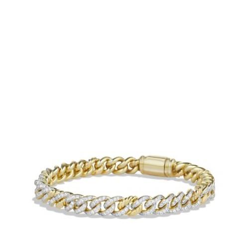 Petite Pav Curb Link Bracelet with Diamonds in G