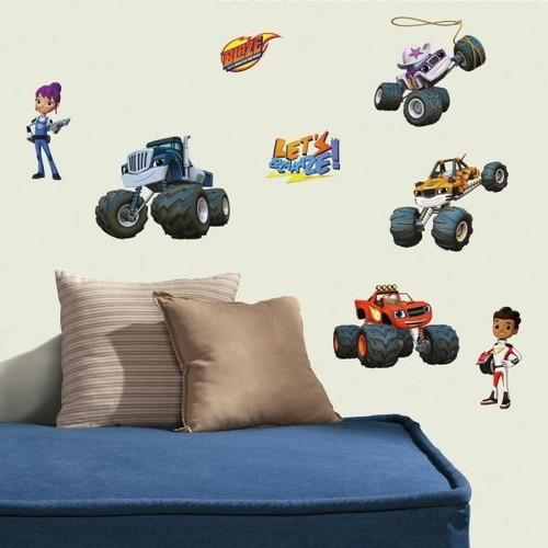 RoomMates 5 in. W x 11.5 in. H Blaze and the Monster Machines 28-Piece Peel and Stick Wall Decal