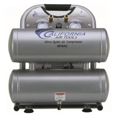 California Air Tools 4610AC Ultra Quiet and Oil-Free 1.0 Hp, 4.6 Gal. Aluminum Twin Tank Electric Portable Air Compressor